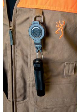 Ретрактор T-Reign малый с карабином, шнур 60см, цвет черный